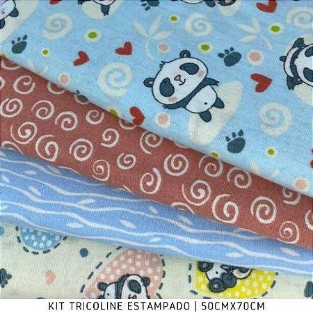 Kit Tricoline 4Tecidos Pandas Fofuras 50cmx70cm cada
