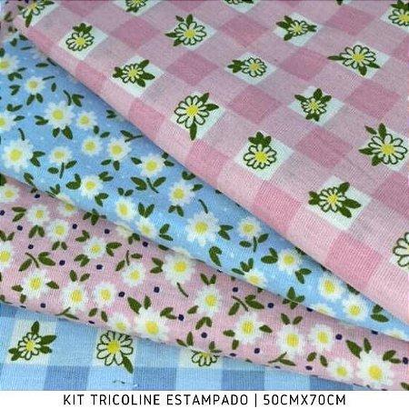 Kit Tricoline 4Tecidos Flores Xadrez Azul e Rosa  50cmx70cm  cada