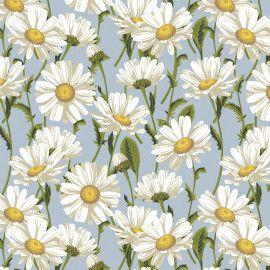 Tricoline Daisy Blossom Azul 50cm x 1.50m largura