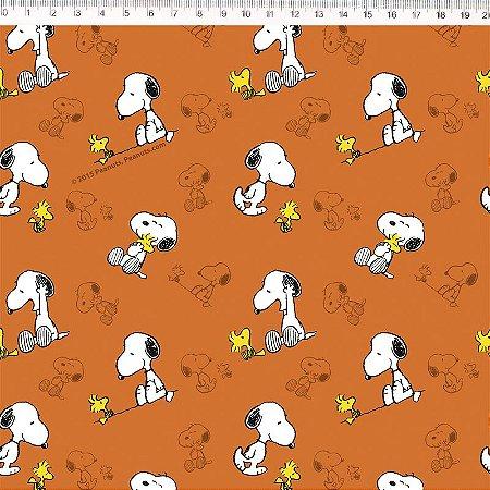Tricoline Snoopy Fundo Laranja 50cm x 1.50m