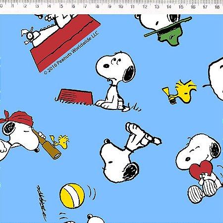 Tricoline Snoopy Fundo Azul 50cm x 1.50m