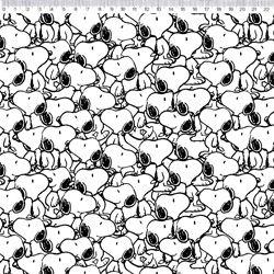 Tricoline Snoopy Preto e Branco 50cm x 1.50m