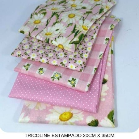 Kit Tricoline 5Tecidos Margaridas fundo Rosa 20cm x 35cm cada