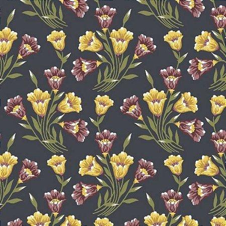 Tricoline Bouquets Lírios Marinho 50cm x 1.50m largura