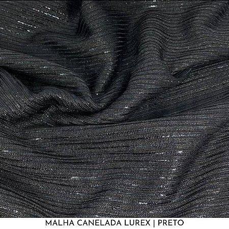 Malha Canelada Lurex Preto 50cm x 1,45m