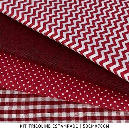 Kit Tricoline 4Tecidos Composse Vermelho 50cmx70cm cada