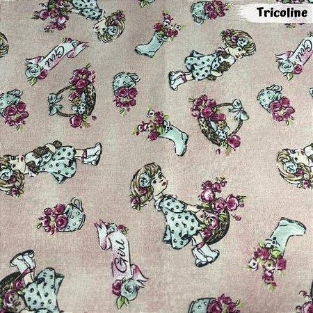 Tricoline Girl Fundo Rosa 50cm x 1.50m largura
