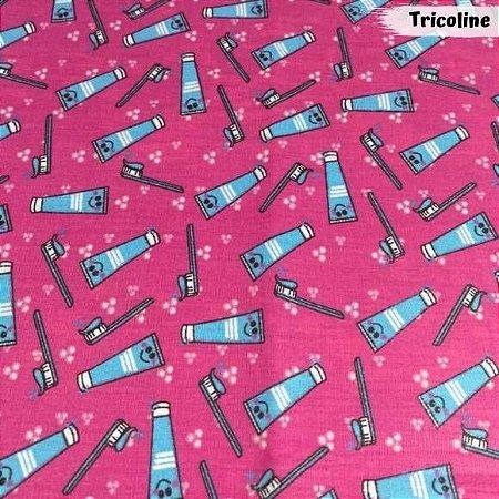 Tricoline Pasta de Dente Fundo Rosa 50cm x 1.50m largura
