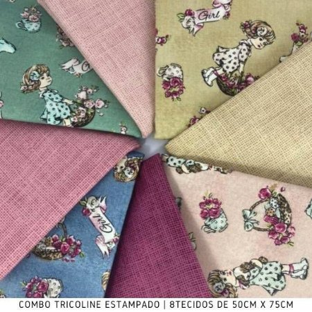 Combo Tricoline Girl 8 tecidos 50cm x 75cm