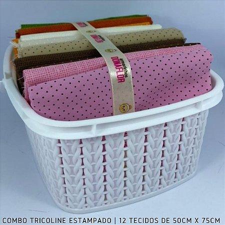 Combo Tricoline 100%Algodão Póas 12tecidos 50x75cm + Cestinha