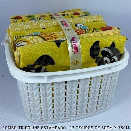 Combo Tricoline 100%Algodão Tons Amarelo 12tecidos 50x75cm + Cestinha
