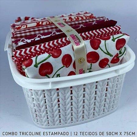 Combo Tricoline 100%Algodão Tons Vermelho 12tecidos 50x75cm + Cestinha