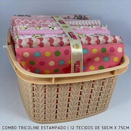 Combo Tricoline 100%Algodão Tons Rosa 12tecidos 50x75cm + Cestinha