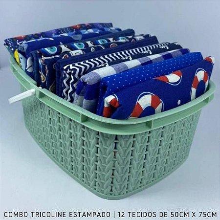 Combo Tricoline 100%Algodão Tons Azul Royal 12tecidos 50x75cm + Cestinha