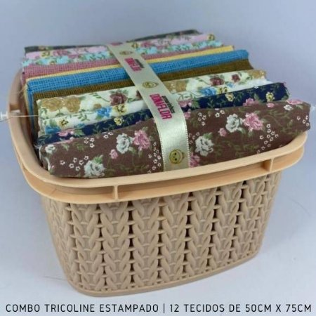 Combo Tricoline 100%Algodão Florais 12tecidos 50x75cm + Cestinha
