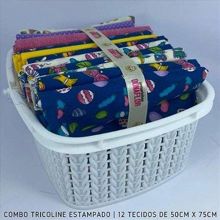 Combo Tricoline 100%Algodão Florais e Borboletas 12tecidos 50x75cm + Cestinha