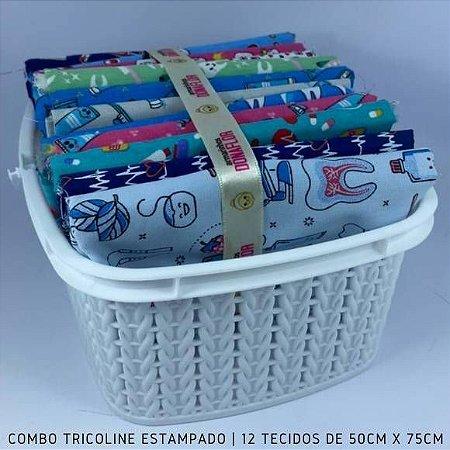 Combo Tricoline 100%Algodão Saúdes 12tecidos 50x75cm + Cestinha