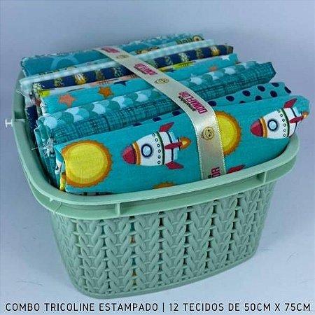 Combo Tricoline 100%Algodão Tons Tiffany12tecidos 50x75cm + Cestinha
