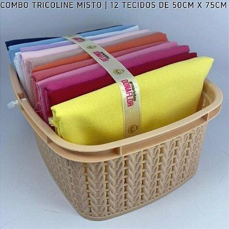 Combo Tricoline Misto Multicores Claro 12tecidos 50x75cm + Cestinha