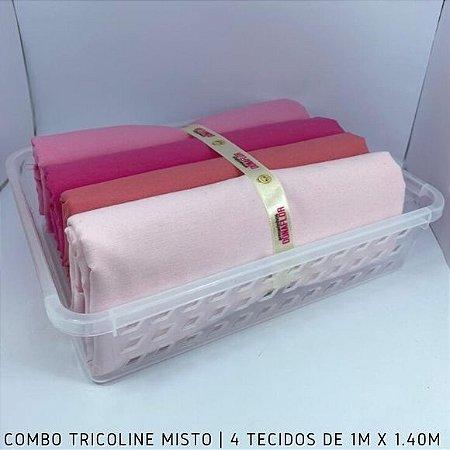 Combo Tricoline Misto Tons Rosa 4tecidos 1mx1.40m + Cestinha