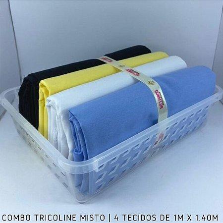 Combo Tricoline Misto Multicores 4tecidos 1mx1.40m + Cestinha