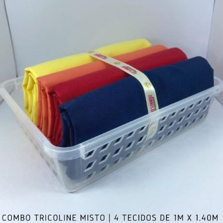 Combo Tricoline Misto Multicores Fortes 4tecidos 1mx1.40m + Cestinha