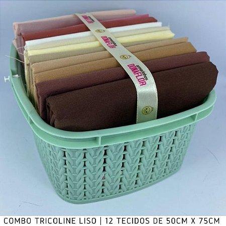 Combo Tricoline Liso 100%Algodão Multicores Bege12tecidos 50x75cm + Cestinha