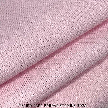 Tecido para Bordar Etamine Rosa 50cm x 1,40m