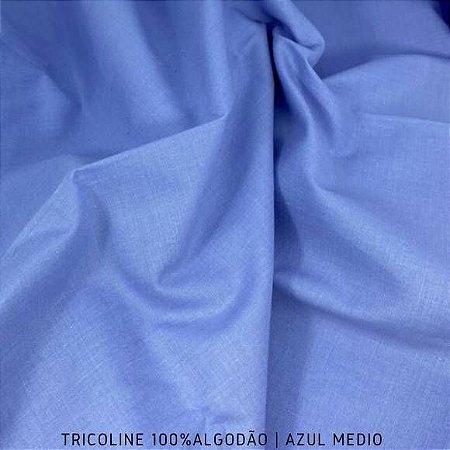 Tricoline Liso 100% Algodão Azul Médio 50cm x 1,50m