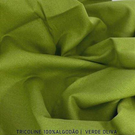 Tricoline Liso 100% Algodão Verde Oliva 50cm x 1,50m