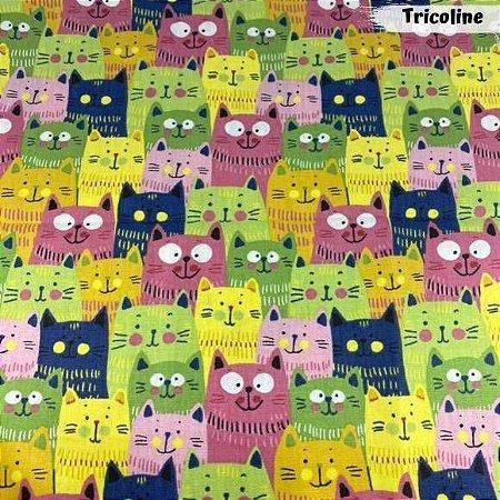 Tricoline Cat Coloridos 50cm x 1,50m Largura