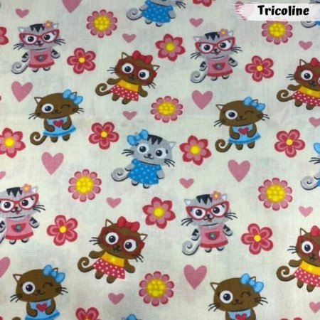 Tricoline Cat Love 50cm x 1,50m Largura