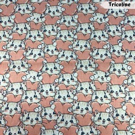 Tricoline Gatinhos Love 50cm x 1,50m Largura