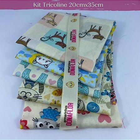 Kit Tricoline 5Tecidos Cats tons Claros 20cm x 35cm cada