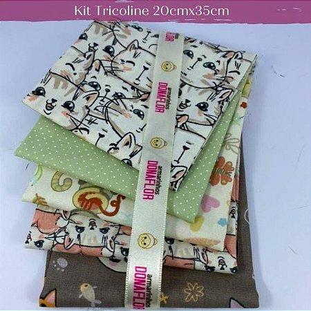 Kit Tricoline 5Tecidos Gatos 20cm x 35cm cada