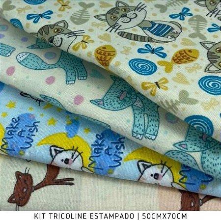 Kit Tricoline 4tecidos Mix Gatos 50cmx70cm cada