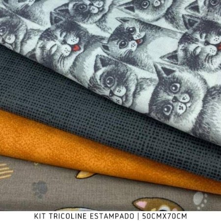 Kit Tricoline 4tecidos Gatos e Composê 50cmx70cm cada