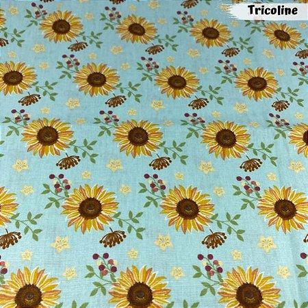 Tricoline Girassóis Crystal Flores Amarela 50cm x 1.50m largura