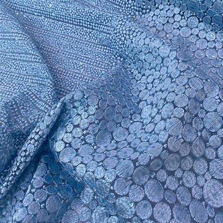 Renda Bordada Azul 50cm x 1.20m