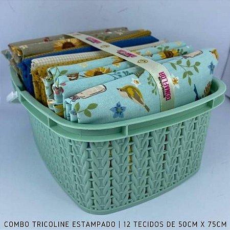 Combo Tricoline 100%Algodão Girassol12tecidos 50x75cm + Cestinha