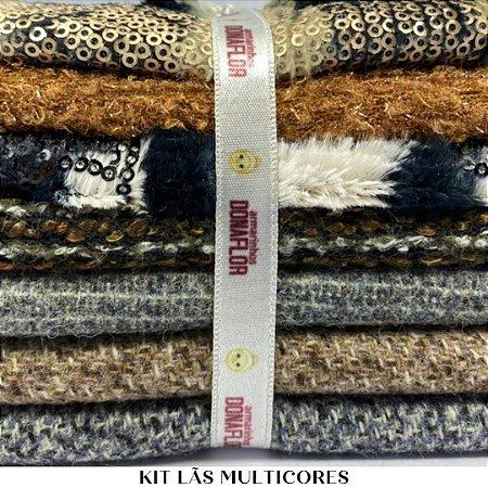 Kit Tecido Lã Multicores 7 tecidos 30cm x 70cm casa