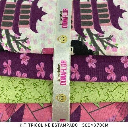 Kit Tricoline 4Tecidos Mundo da KOKESHIS 50cmx70cm cada