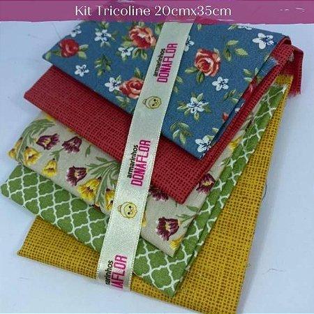 Kit Tricoline 5Tecidos Flores e Texturas 20cm x 35cm cada