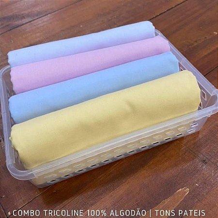 Combo Tricoline 4 Tecidos 100%Algodão Tons Pasteis 1m x 1,40m