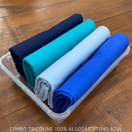 Combo Tricoline 4 Tecidos 100%Algodão Tons Azul 1m x 1,40m