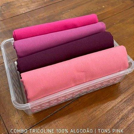 Combo Tricoline 4 Tecidos 100%Algodão Tons Pink 1m x 1,40m