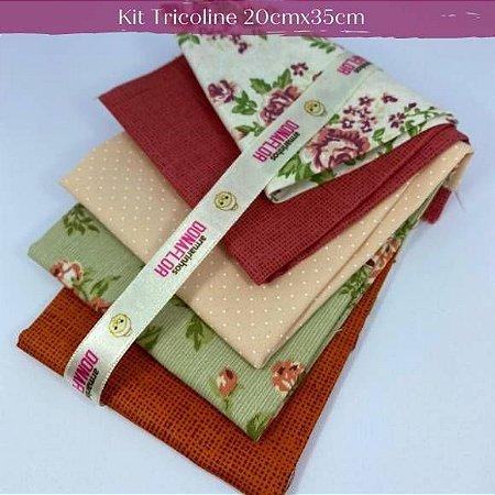 Kit Tricoline 5Tecidos Flores e Póas 20cm x 35cm cada