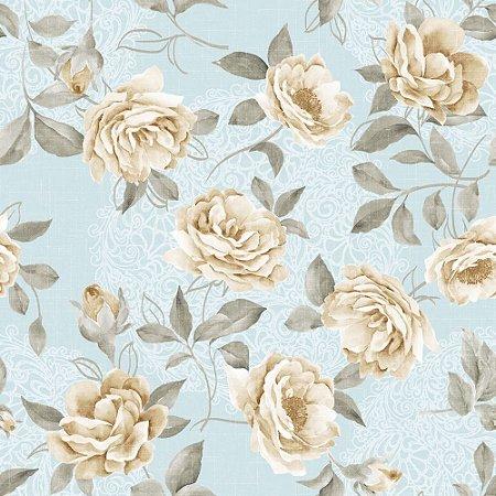 Papel de Parede Adesivo Vintage White Roses