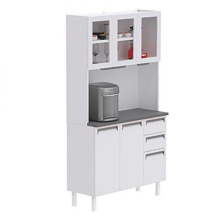 Armário de cozinha colormaq Kit Roma 5 Portas C/vidro-Branco/Branco