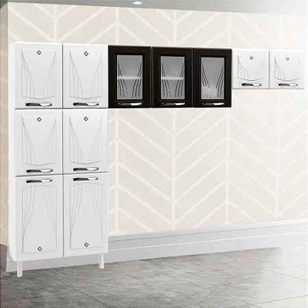 Armário de cozinha Telasul Star 3 peças- Branco/Preto